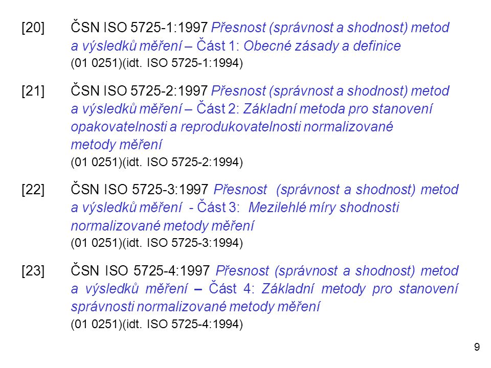 [20]. ČSN ISO 5725-1:1997 Přesnost (správnost a shodnost) metod